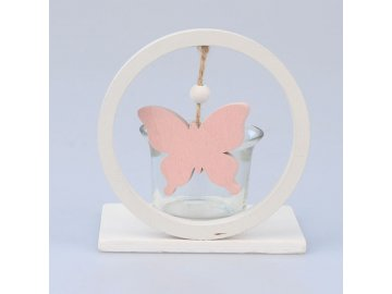 Svícen kruh se světle růžovým motýlem 7x10,5x10cm