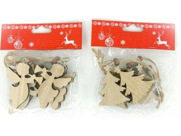 Andělíček nebo stromeček, vánoční dřevěná dekorace na pověšení, 6 kusů v sáčku, cena za 1 sáček