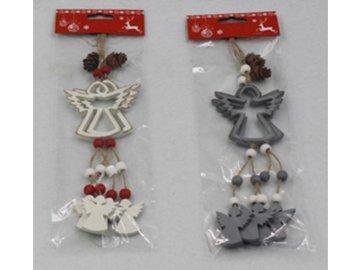 Andělíček, vánoční dřevěná dekorace na pověšení, barva bílá, šedá,  2 kusy v sáčku, cena za 1 sáček