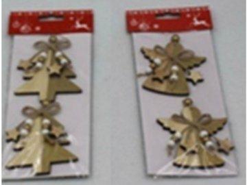 Andělíček nebo stromeček,  vánoční dřevěná dekorace, 2 kusy v sáčku, cena za 1 sáček