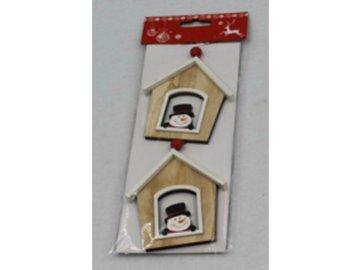 Domeček, vánoční dřevěná dekorace na pověšení, 2 kusy v sáčku, cena za 1 sáček