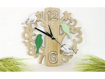 Hodiny | dřevo | ptáci