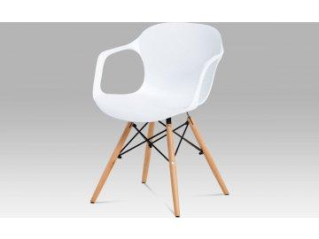 Jídelní židle bílý strukturovaný plast / natural