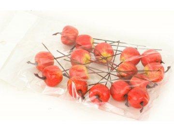Jablíčko plastové, červený melír. Cena za balení (16 ks v sáčku)