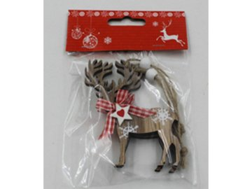 Sob, vánoční dřevěná dekorace na pověšení, 2 kusy v sáčku, cena za 1 sáček