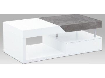Konferenční stolek s 2 ŠUPLÍKY, MDF BÍLÝ MAT