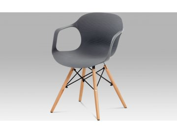 Jídelní židle, šedý strukturovaný plast / natural