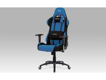 Kancelářská židle, modrá-černá látka, houpací mech, kovový kříž