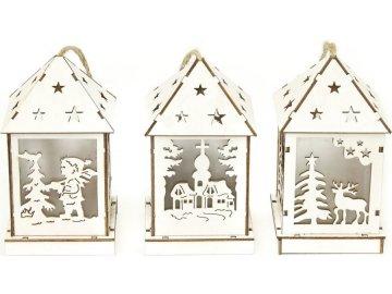 Lucernička dřevěná vánoční dekorace ,  s LED světlem , mix 3 druhů , cena za 1 kus