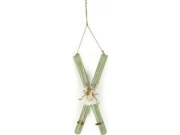Lyže, vánoční dřevěná dekorace s LED světlem