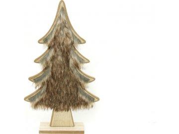 Stromeček s plyšem, vánoční dřevěná dekorace