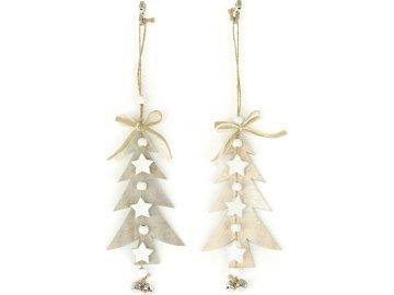 Stromeček, dřevěná vánoční dekorace s rolničkou na zavěšení, mix barev bílé a šedé, cena za 1 kus
