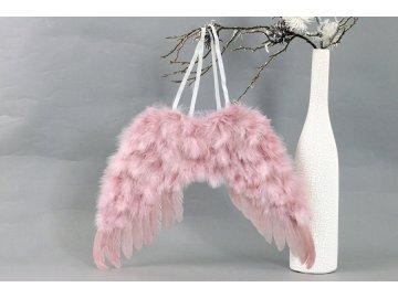 Andělská křídla z peří , barva růžová,  baleno 1 ks v polybag. Cena za 1 ks.