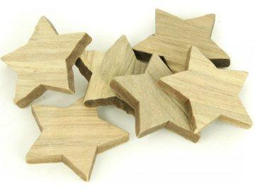 Hvězdička dřevěná dekorace, 6 kusů v sáčku, cena za 1 sáček