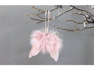 Andělská křídla z peří , barva růžová,  baleno  12 ks v polybag. Cena za 1 ks.