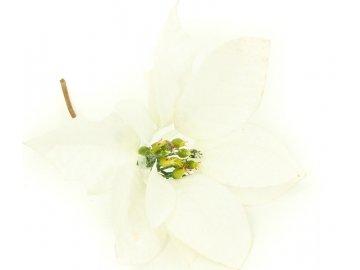 Vánoční růže, poinsécie , umělá květina vazbová, bílá zasněžená