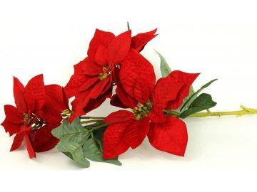 Vánoční růže, poinsécie 5 květů , umělá květina , červená
