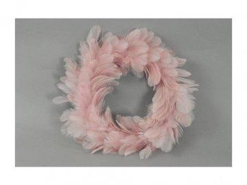 Věnec z peří, barva růžová- velký