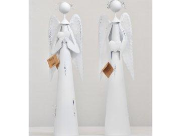 Plechový anděl Atel se srdíčkem, bílý 40 cm