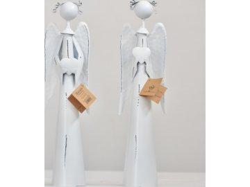 Plechový anděl Atel   se srdíčkem   30cm