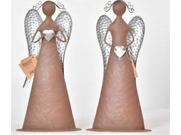 Plechový anděl Tiel se srdíčkem 26 cm