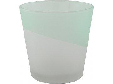 Skleněný svícen na votivní svíčku | Yankee Candle | aqua | pískované sklo