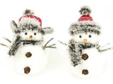 Sněhulák s plyšem, vánoční dekorace, mix 2 druhů, cena za 1 kus