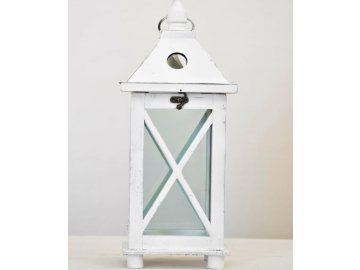Dřevěná lucerna | bílá | 41x17x17 cm
