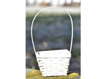 Bambusový košík s uchem, bílý 18x14,5x10 cm