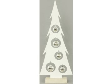 Stromeček, vánoční kovová dekorace s plastovými koulemi