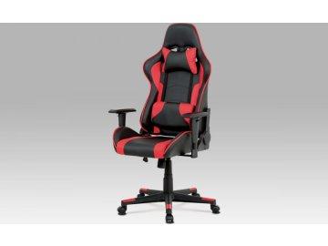 Kancelářská židle, černá+červená ekokůže, houpací mech, plastový kříž