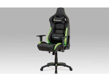 Kancelářská židle, černá+zelená ekokůže, houpací mech, plastový kříž