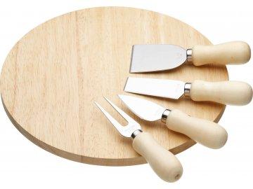 Kulaté dřevěné prkénko na sýr s noži a vidličkou