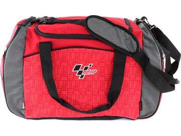 Sportovní taška Moto GP červená s černým lemováním, s bílým nápisem Moto GP