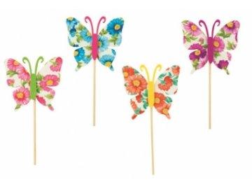 Zápich motýl květovaný na špejli 8cm