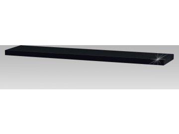 Nástěnná polička 120 cm, barva černá - vysoký lesk. Baleno v kartonu 1ks/ktn.