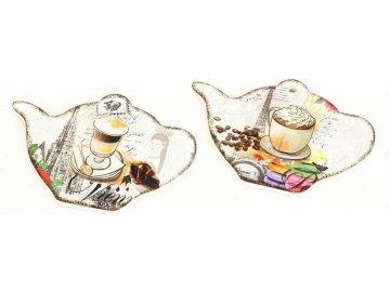 Podložka kuchyňská z keramiky a korku, mix 2 dekorů,  cena za 1 kus