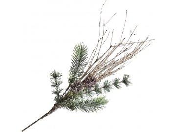 Větvička chvojí s břízou a šiškou 43 cm