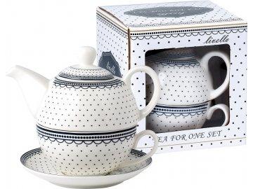 Konvička s podšálkem TEA FOR ONE Dots - white