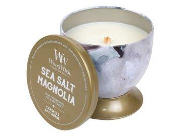 Vonná svíčka v plechové dóze | WoodWick | Mořská sůl a magnolie | 241g