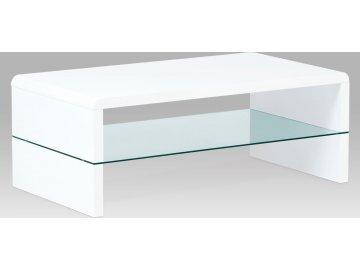 Konferenční stolek 110x60x40 cm, MDF vysoký lesk bílý / čiré sklo