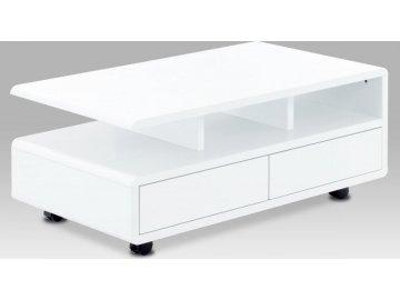 Konferenční stolek 100x60x41, MDF bílý vysoký lesk, 5 univerzální kolečka, 2 šuplíky