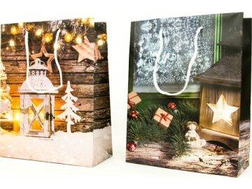 Taška dárková papírová střední, vánoční motiv