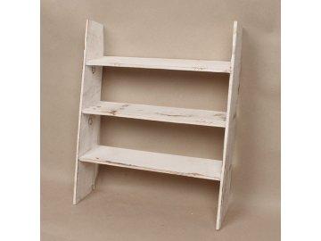 Dřevěný regál 3 patra bílý 40x50x10cm
