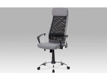 Kancelářská židle, šedá látka, černá MESH, houpací mech, kříž chrom