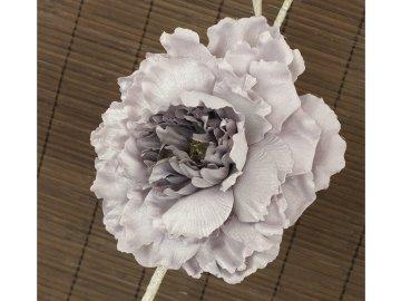 Květ pivoňky na klipu, umělá květina, staro-fialová glitrovaná