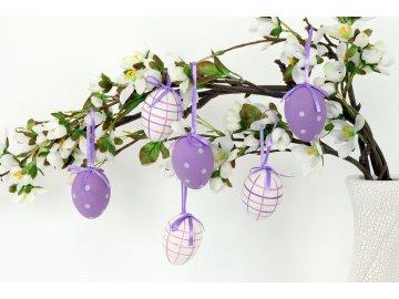 Vajíčko lila plastové 5 cm, dekorační na zavěšení,  cena za sadu 6 kusů