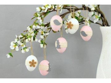 Vajíčka plastová 6 cm, dekorace na zavěšení s dekorem kytičky, 6 kusů v sáčku, cena za 1 sáček