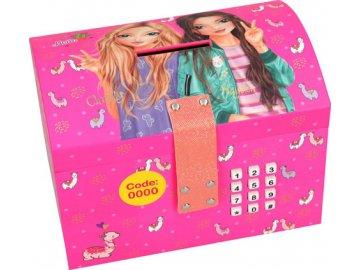 Pokladnička Top Model Christy a Hayden, růžová, se zámkem na kód