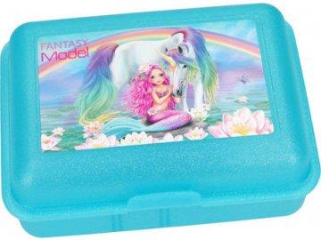Svačinový box Fantasy Model Mořská panna a jednorožec, tyrkysový
